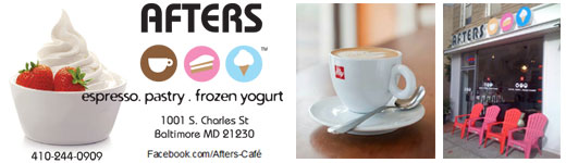Afters Espresso, Pastry, Frozen Yogurt, on Charles Street in Federal Hill Baltimore MD