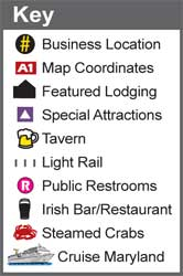 Key for our BHG Baltimore's Magnificent Inner Harbor Map featuring icons for business locations, map coordinates, featured lodging, special attractions, tavern, light rail, public restrooms, Irish bar/restaurant, steamed crabs, and Cruise Maryland