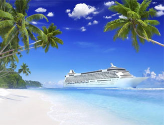 Image of a luxurious cruise ship with beautiful white sand beach and clear blue ocean in the foreground framed by luscious green palm trees and a deep blue sky