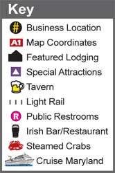 Key for our BHG Baltimore's Historically Hip Federal Hill Map featuring icons for business locations, map coordinates, featured lodging, special attractions, tavern, light rail, public restrooms, Irish bar/restaurant, steamed crabs and Cruise Maryland