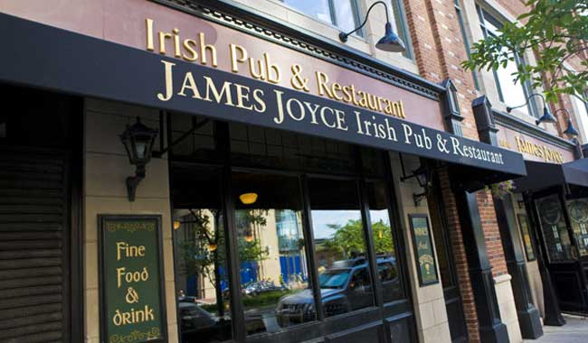 Attractive and inviting entrance to James Joyce Irish Pub and Restaurant, 616 S. President Street, Harbor East, Baltimore MD