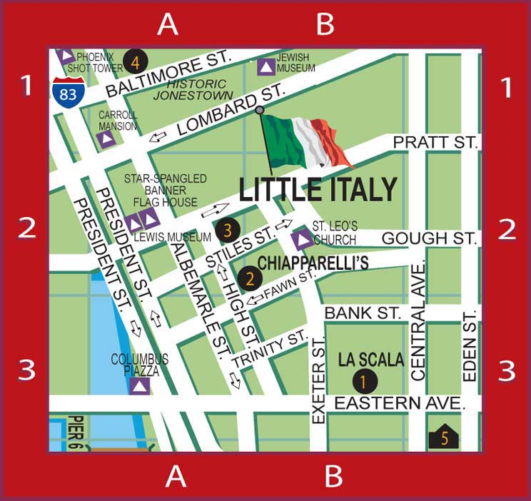 Baltimore Harbor Guide's Little Italy Map featuring the locations of our BHG Local Favorites including Italian restaurants & bars, Italian wine bar, brick oven pizza, Italian deli & fresh subs, French patisserie, indoor bocce ball court, Persian restaurant, Hyatt Place Hotel; also showing locations of Saint Leo's Church, Flag House Museum, Jewish Museum, Reginald Lewis Museum, Phoenix Shot Tower, Historic Jonestown, Columbus Piazza