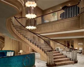Image of the majestic grand staircase & the beautiful chandelier in the luxurious lobby of the Royal Sonesta Harbor Court on Light Street Inner Harbor Baltimore MD