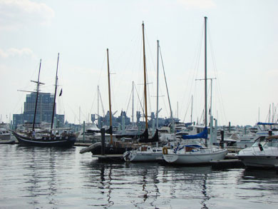 Serene image of sailboats docked in the harbor in Fell's Point, Baltimore MD
