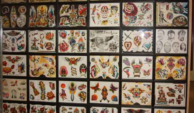 Many samples of artwork at the Baltimore Tattoo Museum, 1534 Eastern Ave, Fell's Point, Maryland