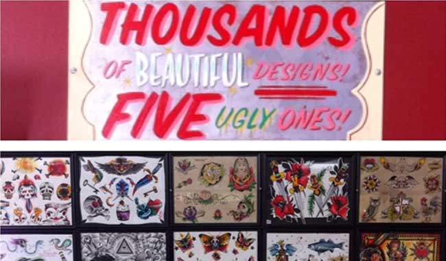 Baltimore Tattoo Museum sign - Thousands of Beautiful Designs! Five Ugly Ones! with sample artwork, 1534 Eastern Ave, Fell's Point, MD