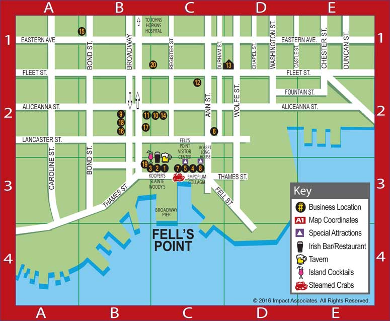 Baltimore Harbor Guide's Fell's Point Map featuring the locations of our BHG Local Favorites including restaurants, bars, taverns, boutiques, shops, salons, comics, Fell's Point Visitor Center, Robert Long House, luxury lodging, tattoo museum, and Broadway Pier, Baltimore MD