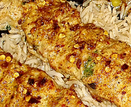 Image of delicious Chicken Seekh Kabob and rice at Jasa Kabob on Canton Square Baltimore MD