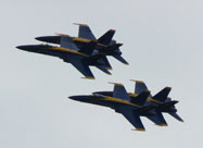 Close-up image of U.S. Navy Blue Angels soaring in tight formation over Baltimore's Inner Harbor at the Star-Spangled Spectacular on September 14th 2014