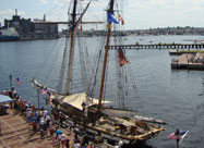 Image of sailboat docked at pier in Fell's Point with great view of the harbor viewed from above during the Star-Spangled Sailabration in June 2012, Baltimore, MD